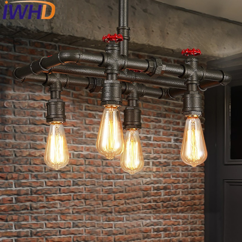 IWHD Water Pipe Retro Lamp Loft Industrial Vintage Pendant Lights Bedroom Bar Restaurant Pending Lighting Fixtures Lamparas iwhd nordic style iron pendant lamp vintage industrial lighting fixtures loft retro hanging lights bar bedroom restaurant light
