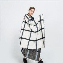 Mingjiebihuo осенне-зимний черно-белый двусторонний Шарф бежевый клетчатый шарф теплая Модная шаль для женщин и девочек