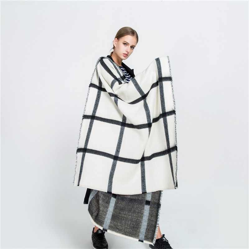 Mingjiebihuo Autumn and winter new black and white double-sided scarf beige plaid scarf warm fashion shawl women girls