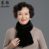 Knitted Real Mink Fur Scarf For Women Winter Female Real Fur Scarf MinkFur Collar Warm Neck Women Scarves Mother's Day Gift