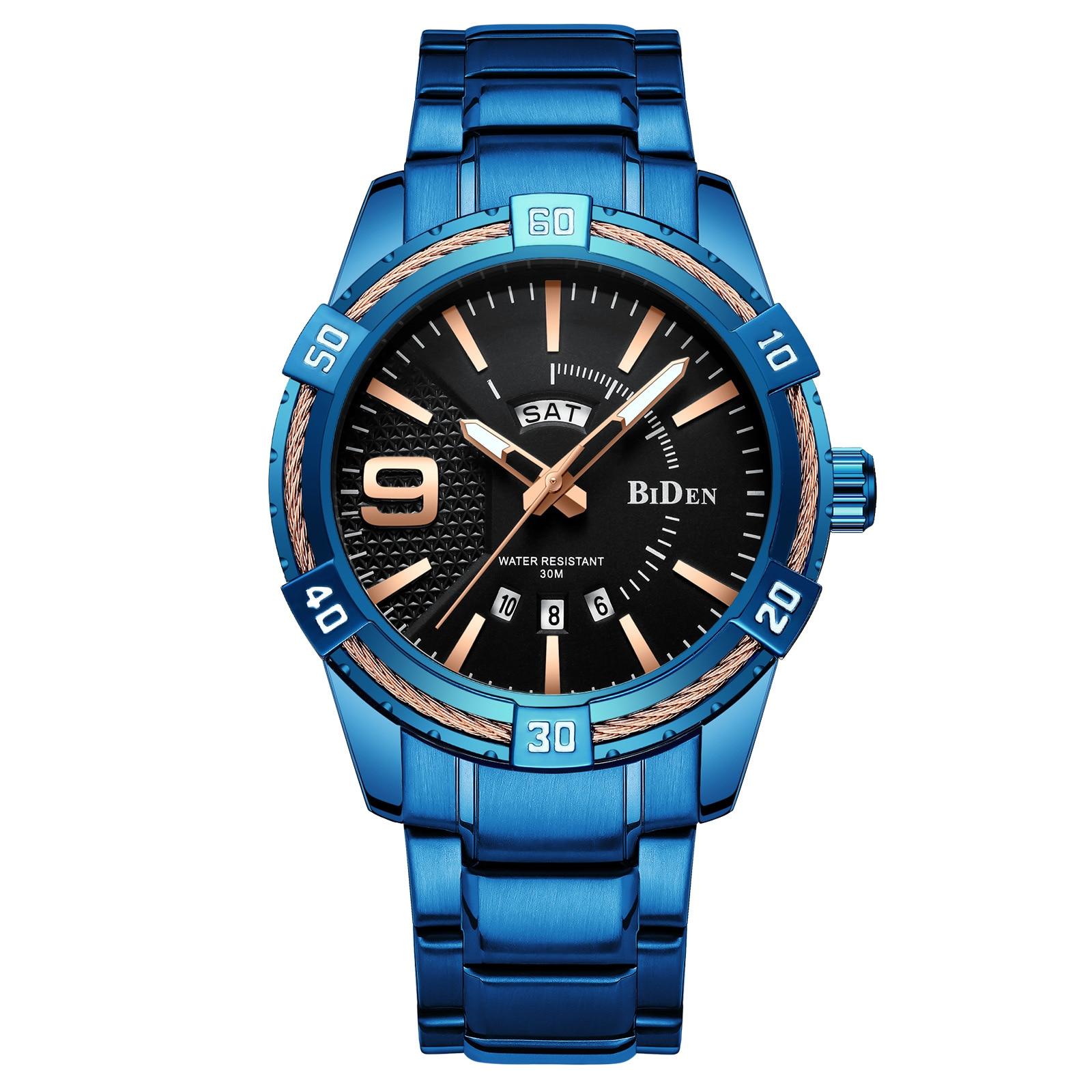mens blue watches BIDEN brand waterproof fashion man wristwatches quartz stainless steel male clocks calendar Japan movement