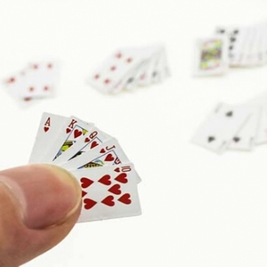 New Cute Miniature Games Poker Mini Dollhouse Playing Cards Miniature 1:12 For Dolls Accessory Home Decoration(China)