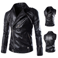 Free ship 2015 winter new fashion men's leather detachable sleeves leave two leather jackets different use Slim fit Vests M-XXXL