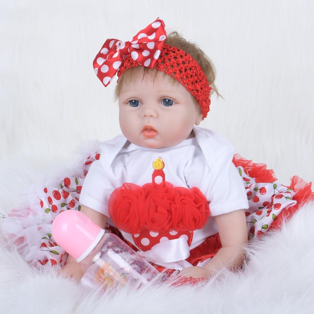 22 pouces réaliste reborn poupées bébés silicone reborn bébé poupées bébé réel vivant jouets pour filles bebe cadeau reborn pour enfant anniversaire