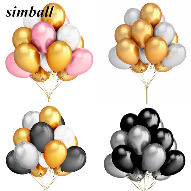 10pcs/lot 2.8g 12 Inch Pearl Gold Silver Black Latex Balloons Birthday Wedding Party Decor Air Helium Globos Kids Gifts Supplies
