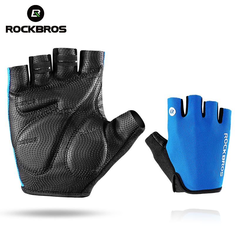 ROCKBROS Cycling Gloves Half Finger Bike Gloves Shockproof Breathable MTB Mountain Bicycle Gloves Men Sports Cycling Clothings  Аппаратный порт