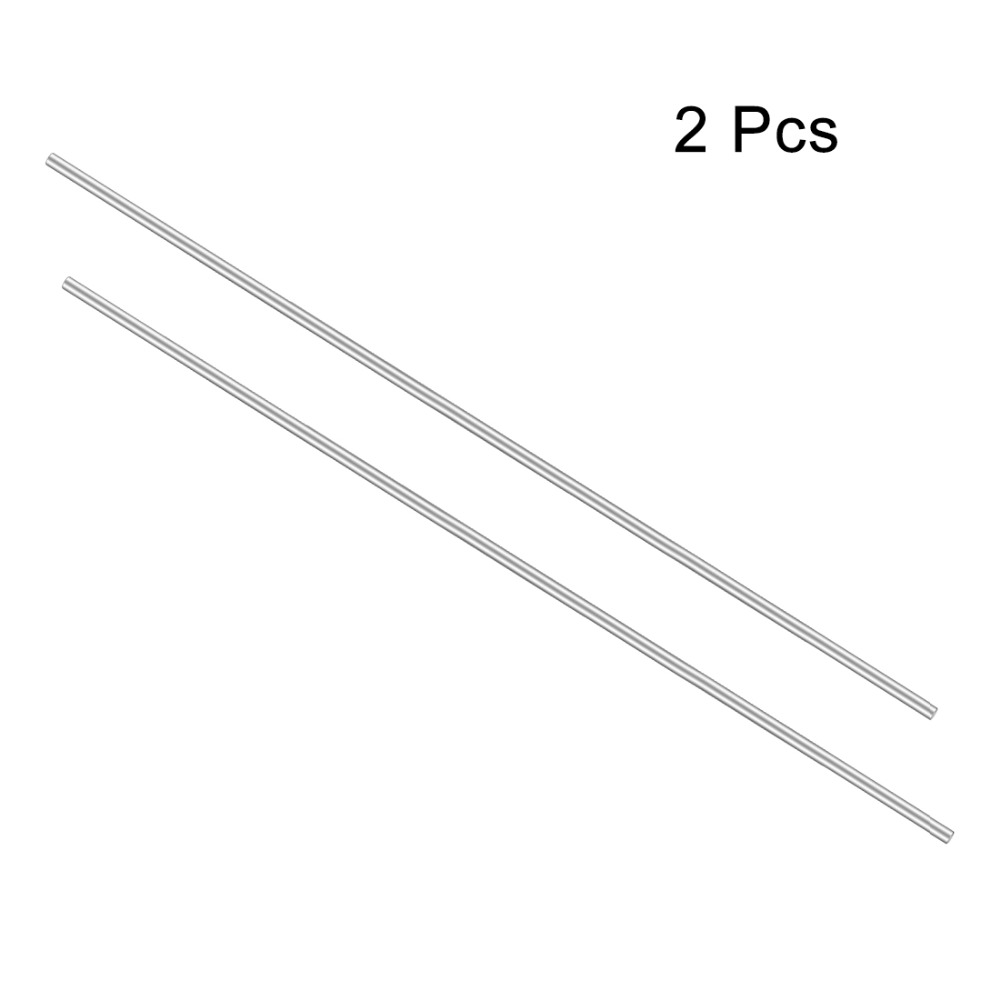 Uxcell 2Pcs/lot Length 200mm/250mm/300mm Stainless Steel Silver Tone Shaft Round Rod Diameter 2mm for DIY Toy RC Car Model Part image