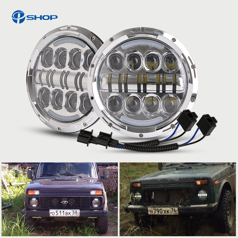 7 80W Round LED Headlight 7500LM Hi/Low Beam Head Light with Bulb DRL for Jeep wrangler TJ LJ JK CJ-7 CJ-8 Scrambler Harley 2pcs 7 inch round led headlights angle eyes headlamp head light for jeep wrangler jk tj cj 8 scrambler high low beam