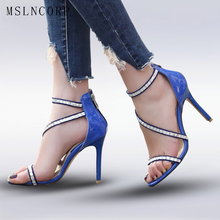 Plus Size 34-46 Women Sandals High Heels Crystal Sexy Rhinestone Gladiator Thin Heels Pumps Open-Toed Ladies Party Wedding Shoes цены