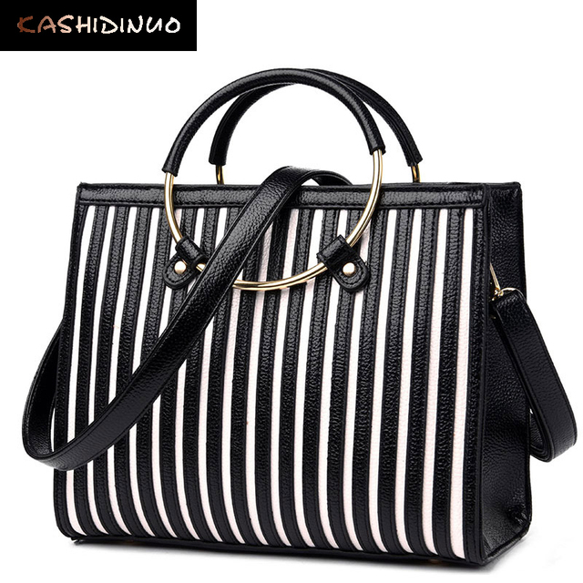 ba557c7693 KASHIDINUO Brand Fashion Stripe Women Leather Handbags Women Shoulder  Messenger Bags High Quality Designer Ladies Crossbody