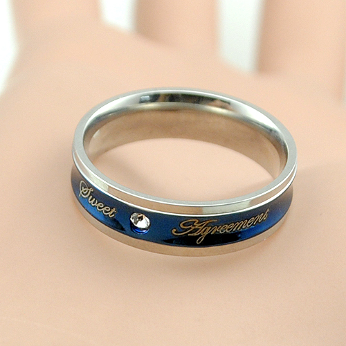 Romantic 6mm Wedding Bands Stainless Steel Rings Engagement Letter