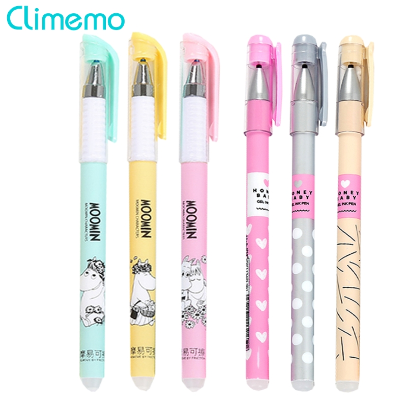 Climemo Cute Erasable Gel Pens For School Office Supplies Hot 3Pcs/Lot 0.38mm Magical Ink Kawaii Stationary Store Student Write