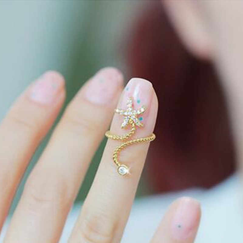 Hot New five-pointed star starfish crystal rings for women    8RD93