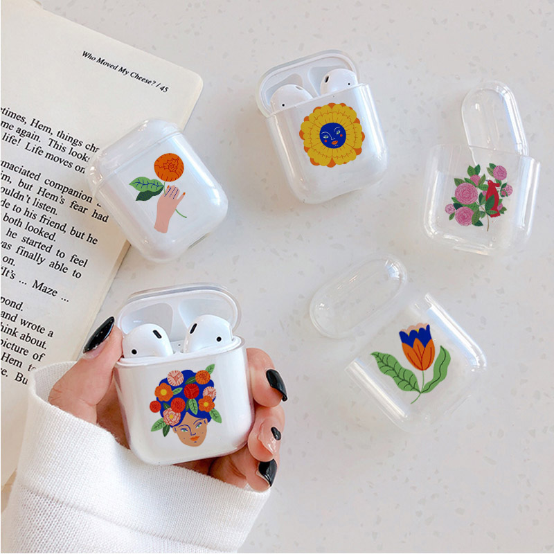 Hard Case For AirPods Case Cute Bluetooth Earphone Cover For Airpods Cartoon Art Flower Transparent Protect Cover-in Earphone Accessories from Consumer Electronics
