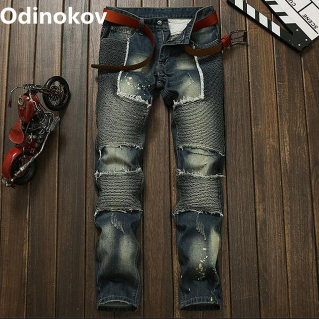 Odinokov Brand 2017 New Fashion Men Jeans New Arrival Design Slim Fit Fashion Ripped Jeans For Men Good Quality Blue