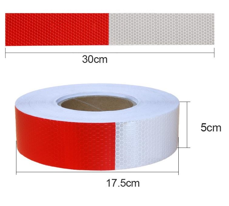 5cm*45m Self-adhesive PVC Reflective Warning Safety Tape Truck Road Traffic Construction Site