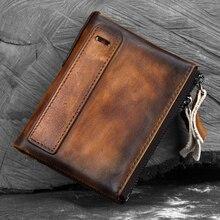 Cowhide Double Zipper Clutch Wallet Cash Coin Pocket Brush C