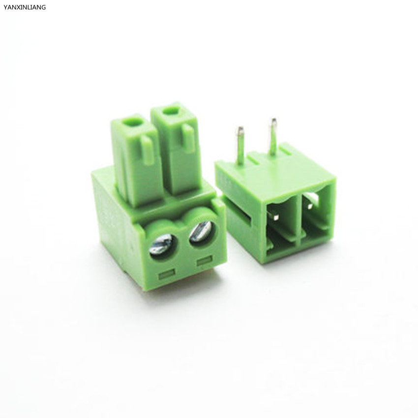 10 sets 3.81 2pin Right angle Terminal plug type 300V 8A 3.81mm pitch connector pcb screw terminal block Free shipping