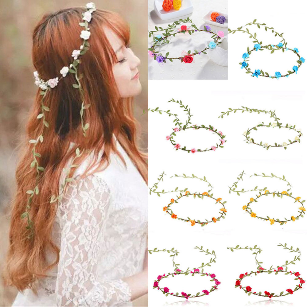 Rose Flower Crown Headband Hair Garland Bride Wedding Headwear Beach ...
