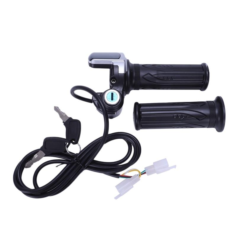 E Bike Electric Scooter Handlebar Throttle Throttle + 48V Indicator + Key Lock