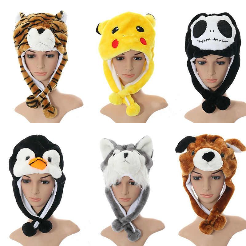 74242436df2 child cartoon plush animal hat thermal winter warm beanies ear protector  Earmuffs cap With short Scarf