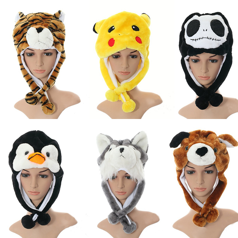 child cartoon plush animal hat thermal winter warm   beanies   ear protector Earmuffs cap With short Scarf   Skullies   headwear