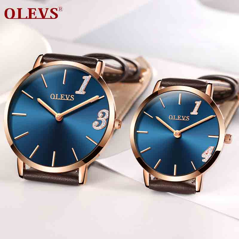 OLEVS Ultra thin Lovers watch Male Wristwatch Leather Watchband Business Watches Waterproof Scratch-resistant Couple watches New