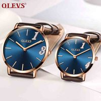 OLEVS Ultra thin Lovers watch Male Wristwatch Leather Watchband Business Watches Waterproof Scratch resistant Couple watches New