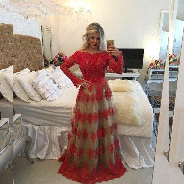 Abendkleider 2017 Red Boat Neck Sheer Back Long   Evening     dresses   Long Sleeve A-Line Lace Prom Gown Formal   Dress   Vestidos de noite