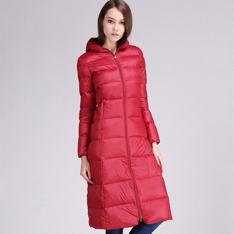 Winter Duck   Down   Jacket Light Thin Plus Size Thickening Warm   Down     Coats   Parkas Hooded Slim Long Female   Down     Coats   YP0867
