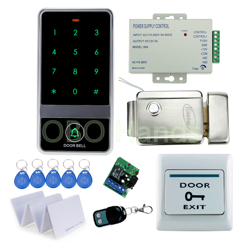 RFID door metal access control system kit set touch keypad controller with electric control lock with power supply with keys-C60 rfid door access control system kit set with electric lock power supply doorbell door exit button 10 keys id card reader keypad