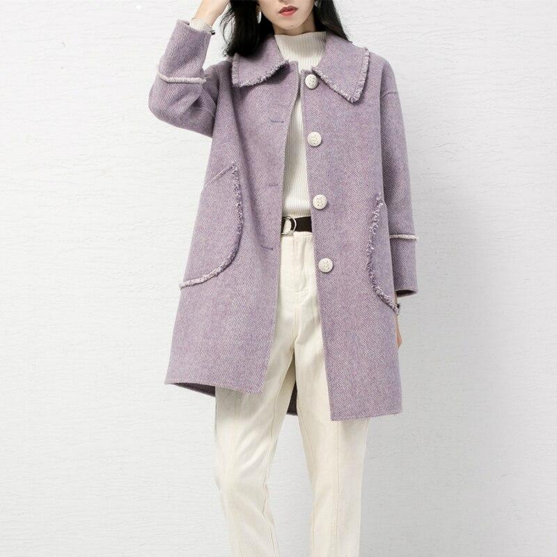 Face Pardessus Automne Tcyeek Élégantes De Vêtements Laine pink Apricot Lwl1330 Manteaux Hiver Femelle Longue Mode purple Dames Printemps Manteau Rose Femmes xgawgqI