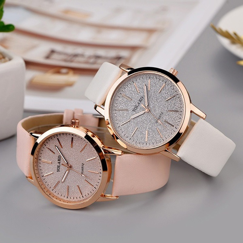 YOLAKO Fashion Color Flash Diamond Ladies PU Belt Electronic Watch Is Not Waterproof Round Watch