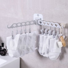 050 Fashion home useful Wall hanging type rotary dual rod 10 clips clothes hanger Socks clip rack storage hook 48*14cm
