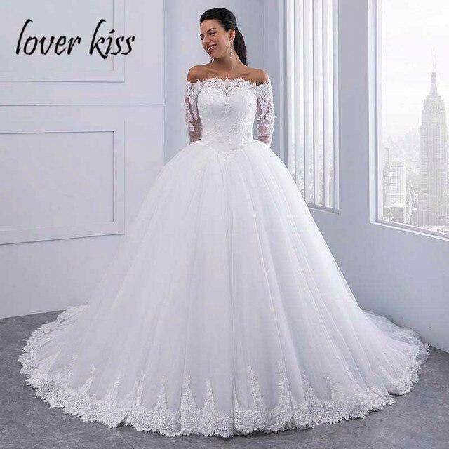 Beijo amante Vestidos de Mangas Compridas Vestido De Noiva vestido de Baile vestido de Noiva de Renda Fora Do Ombro Tulle Puffy vestido de Noiva Vestidos de Casamento Mariage