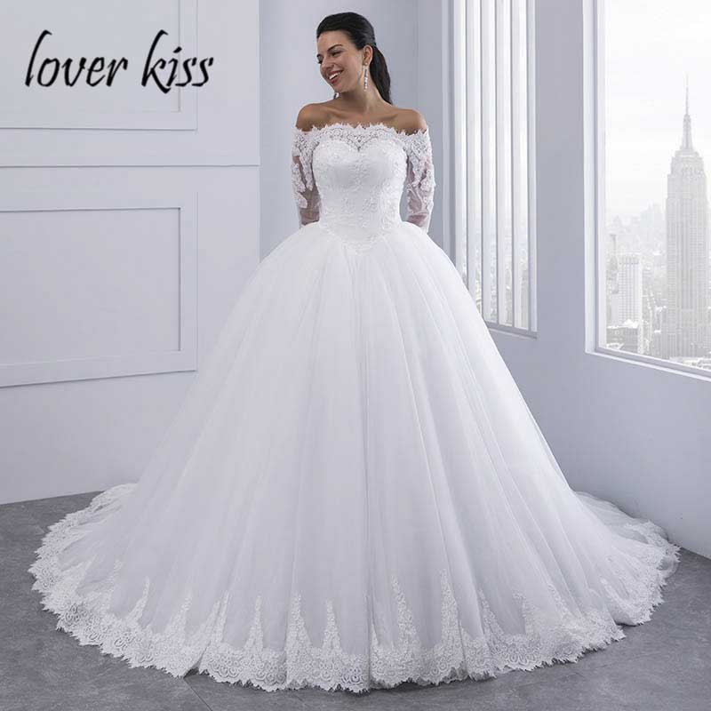 16f5503095f Lover Kiss Vestidos de Noiva Ball Gown Lace Wedding Dress Long Sleeves Off  Shoulder Tulle Puffy Bride Gowns Casamento Mariage