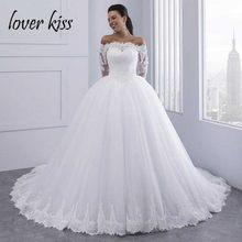 c8c5e7ec2dc Lover Kiss Vestidos de Noiva бальное платье кружевное свадебное платье  одежда с длинным рукавом с открытыми плечами Тюль Пышное ..