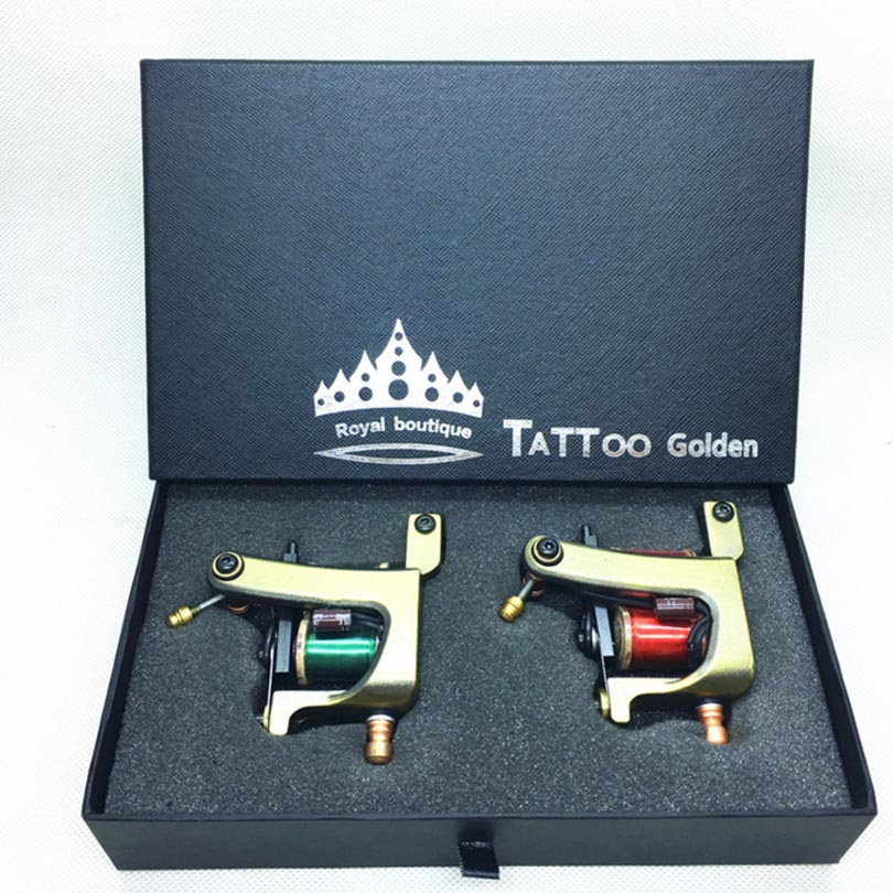 2PCS Professional Copper Tattoo Machine Gun With 10/12 Wrap Coils Liner & Shader Rotary Machine Tattoo Guns Supplies maquina de professional hot sale high quality liner shader copper handmade tattoo machine 12 import wrap green tattoo gun beginner practice