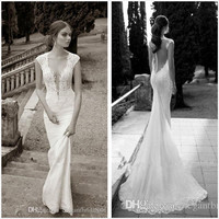 robe de soiree 2018 Lace Sheer Weddings Deep V Neck Illusion Back Button Mermaid Bridal evening prom gown Mother Bride Dresses