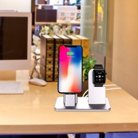 Wireless Charging Base Aluminum Alloy Desk Charger Station For iPhone 6/7/8 Watch 2 In 1 Mobile Phone Smart Watch Charger