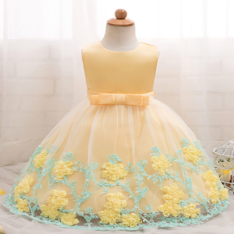 2019 New Baby Birthday Lolita Dress Girl Princess Dresses Costume Sleeveless Lace Mesh Flower Embroidered Formal Clothes
