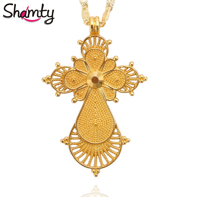 Shamty Pure Gold Color Ethiopian Cross Necklace No Stone African Nigeria Sudan Eritrea Eretrean Jwelery Habesha Style Cross