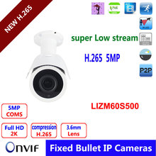H.265 project HD 5mp IP camera 3.6mm lens outdoor  IR weatherproof CCTV security ip web surveillance Camera