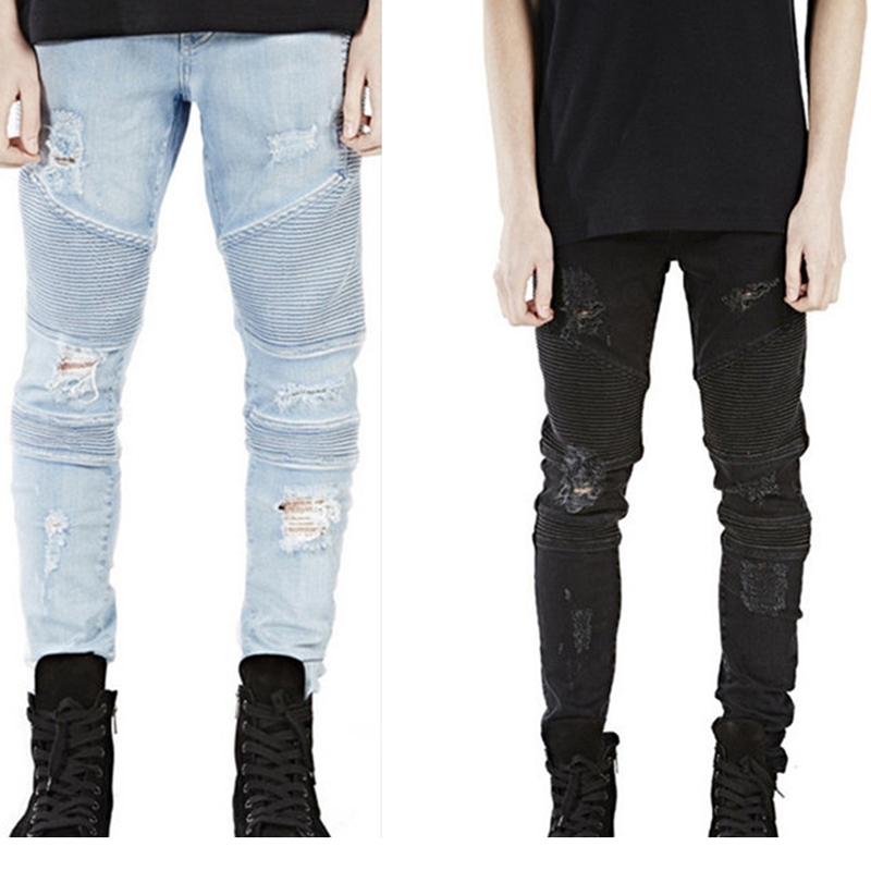 High Quality Mens Ripped Rider Biker Jeans Motorcycle Slim Fit Washed Black Grey Blue Moto Denim Pants Joggers For Skinny Men high quality mens ripped biker jeans 100% cotton black slim fit motorcycle jeans men vintage distressed denim jeans hzijue