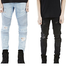 High Quality Mens Ripped Rider Biker Jeans Motorcycle Slim Fit Washed Black Grey Blue Moto Denim Pants Joggers For Skinny Men