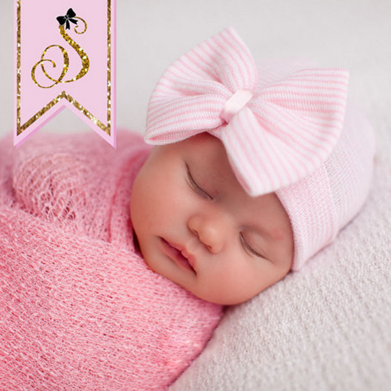 1 PC Big Bow Crystal Autumn Winter Baby Cap Love Children Baby Hats Fashion Casual Knitting Hedging Cap Kids S3249