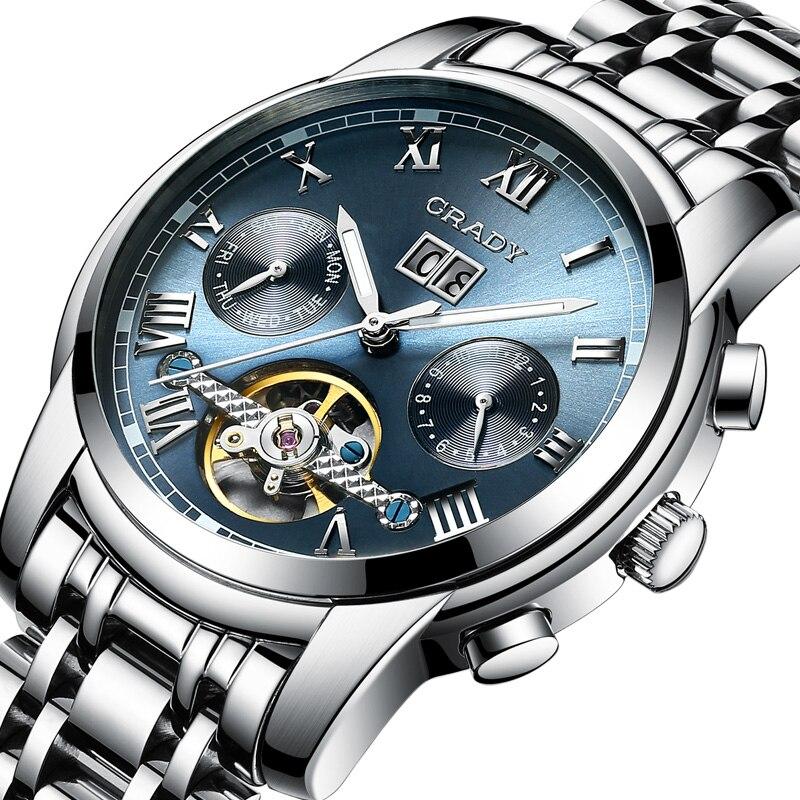 Грейди 17 Горячая WEIDE Мужчины стали часы Tourbillon лучший бренд класса люкс Скелет Автоматический Механические Спортивные часы противоударный в...