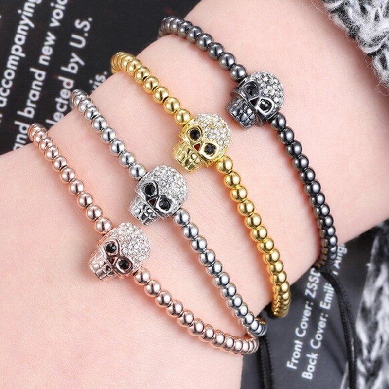 36pcsTop Brand Fashion Skull Charm Mens Bracelets Micro Pave CZ Trendy Brand Braiding Macrame men Bracelets