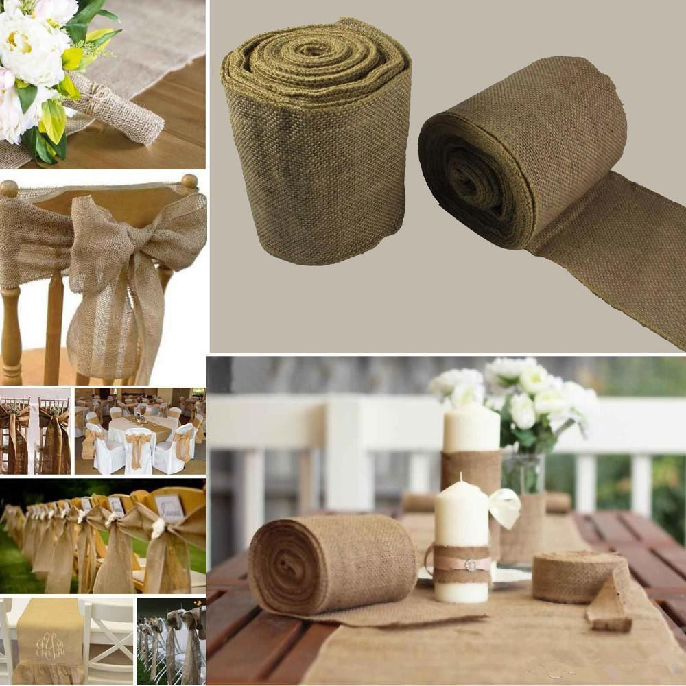 Wh wholesale vintage lead crystal table lamp buy cheap - New 10 Meter Jute Roll Ribbon For Wedding Reception Table Centerpieces Party Decorations Chair Covers Bow