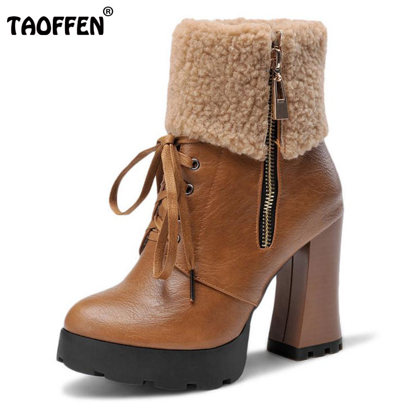 TAOFFEN Size 34-43 Women Mid Calf High Heel Boots Thick Fur Zipper Thick Heels Boots Warm Winter Shoes Snow Botas Woman Footwear taoffen size 30 52 russia women round toe height increasing mid calf boots woman cross strap warm fur winter half shoes footwear